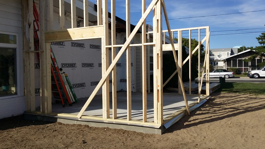 Framing New Home Addition in Ocean City Maryland